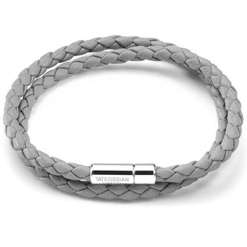 Tateossian Double Wrap Slim Scoubidou Men's Grey Bracelet with Silver Clasp