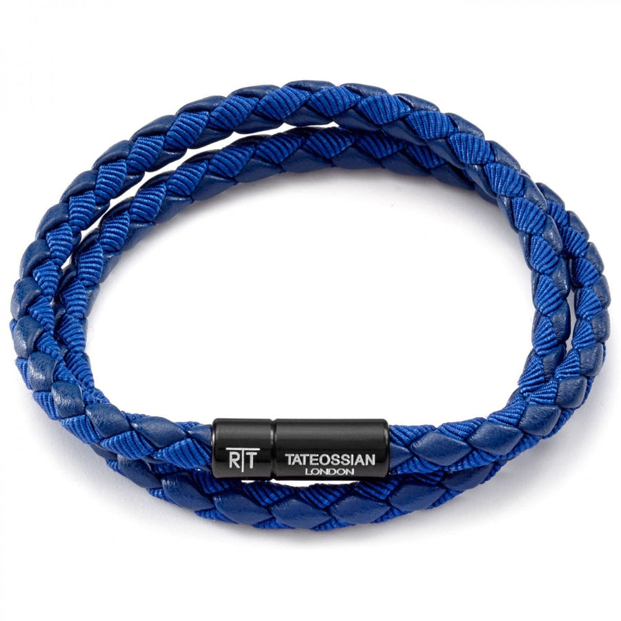 Tateossian Men's Chelsea Bracelet, Blue Italian Leather, Medium