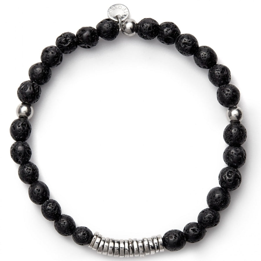 Tateossian Men's Disc Round Black Lava Beaded Bracelet with Silver Spacer Discs