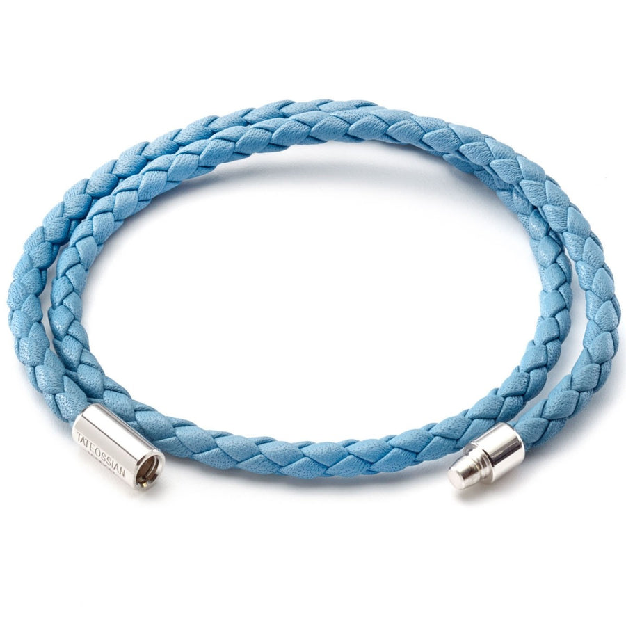 Tateossian Men's Double Wrap Slim Scoubidou Light Blue Bracelet