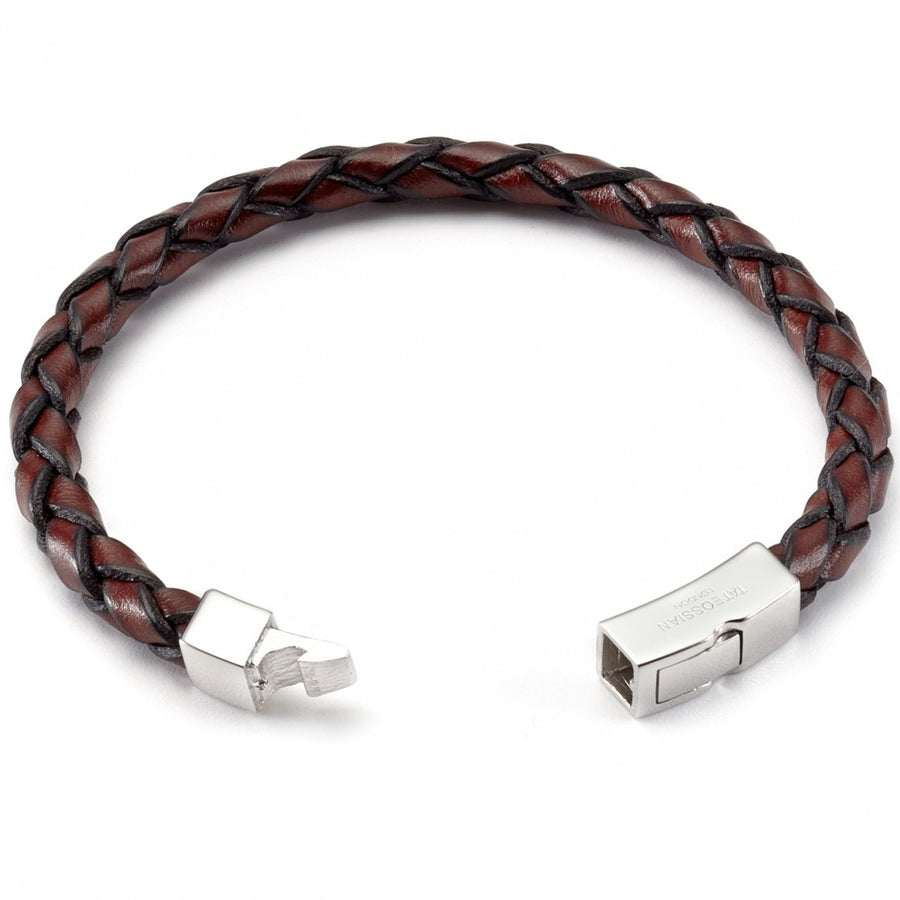 Tateossian Men's Scoubidou Single Wrap Leather Bracelet with Sterling Silver Clasp, Large