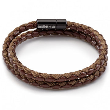 Tateossian Men's Chelsea Eco-Leather and Nylon Fabric Wrap Bracelet