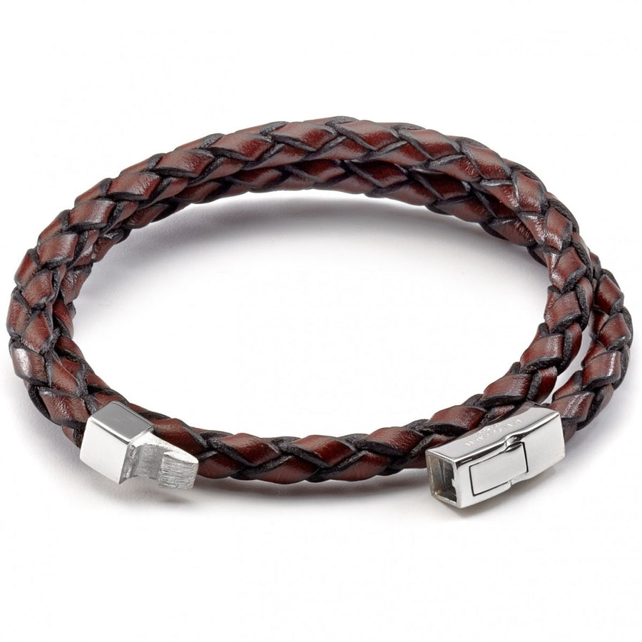 Tateossian Men's Scoubidou Double Strand Bracelet, Brown Leather with Silver Clasp