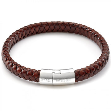 Tateossian Men's Leather Classic Braided Cord Bracelet with Silver Clasp Bracelet, Brown