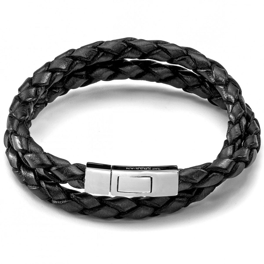 Tateossian Scoubidou Black Leather Double Wrap Bracelet Lge 45cm