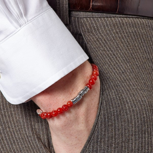 Tateossian Men's Red Carnelian Bead Bracelet with Silver Spacer Discs