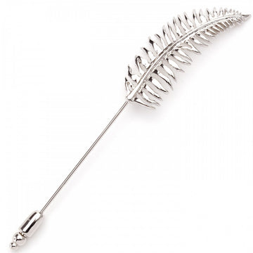 Tateossian Fern in Rhodium Plated Silver Lapel Pin