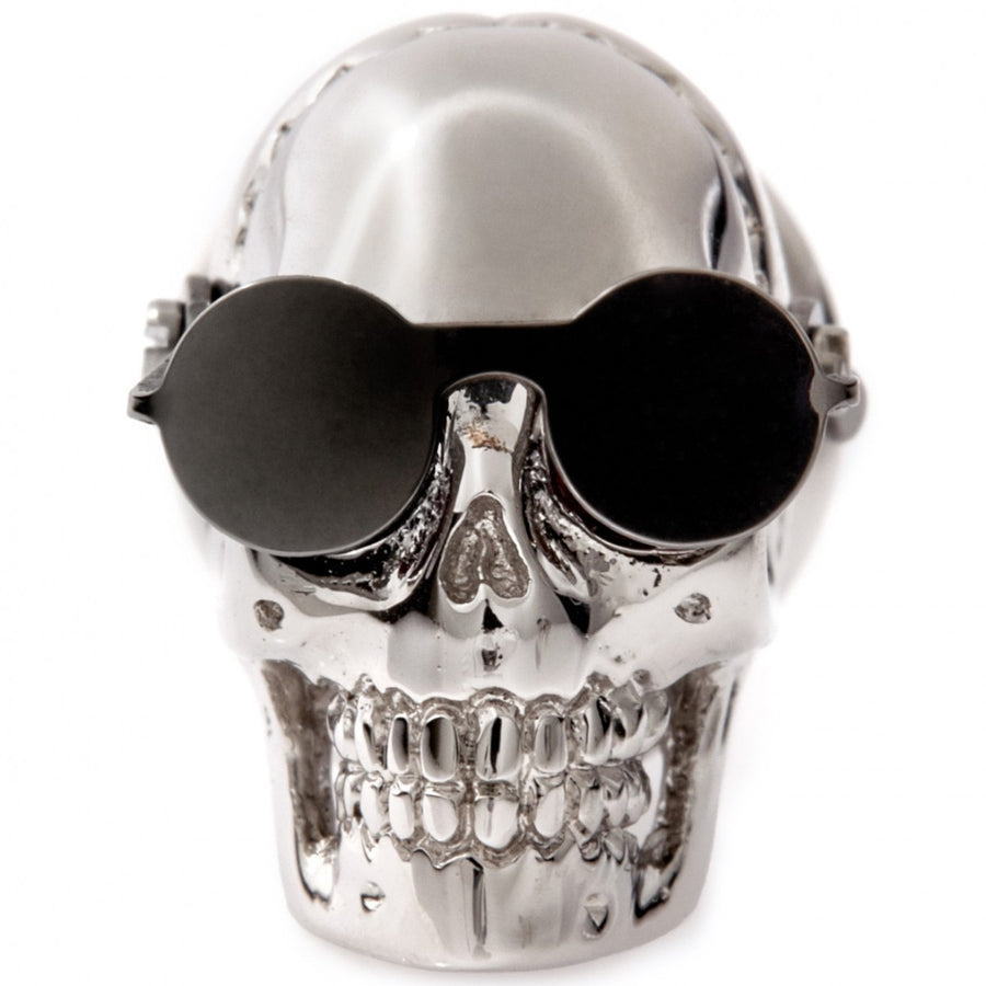 Tateossian Funky Aviator Skull Pin With Gunmetal Plated Glasses