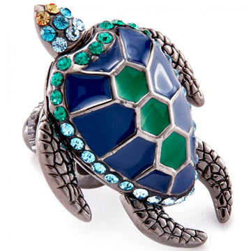 Tateossian Mechanimals Turtle With Blue and Green Enamel, Swarovski Elements Lapel Pin