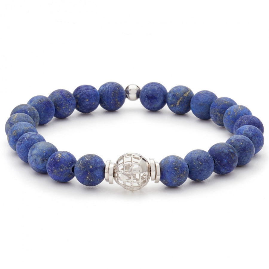 Tateossian 10mm Silver and Blue Lapis Bracelet Matte Finish
