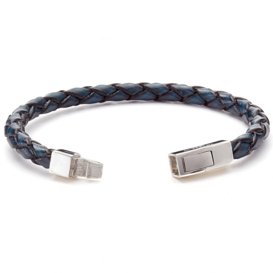 Tateossian Contemporary Bracelet, Blue Leather with Rhodium Plated Silver Clasp