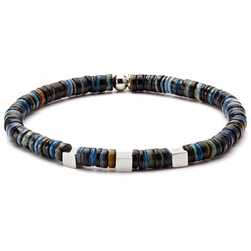 Tateossian Thinly Sliced Shells with Rhodium Plated Silver Cubes Bracelet, Blue, Black and Brown