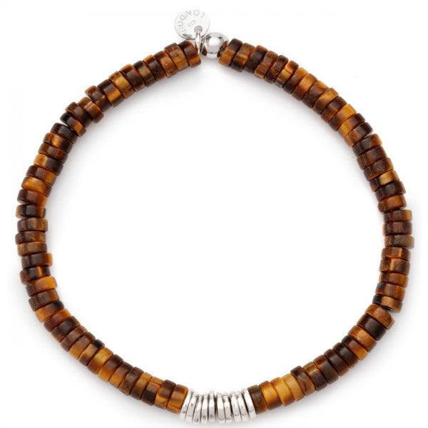 Tateossian Tiger Eye and Sterling Silver Chunky Bracelet