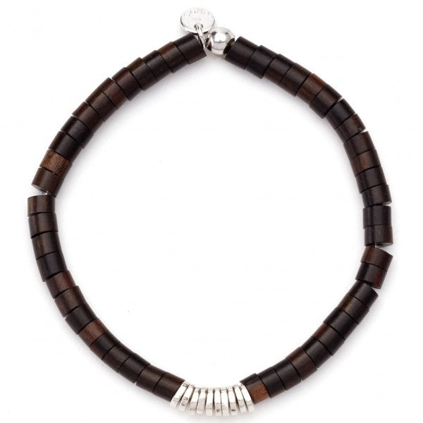 Tateossian Ebony Wood Flat Beads Bracelet