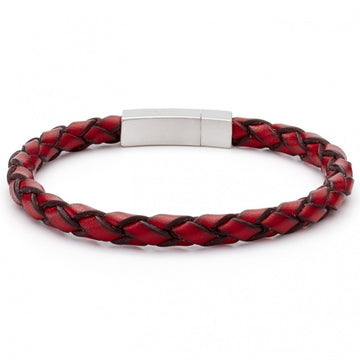 Tateossian Red Bracelet Men's Collection, Italian Leather With Rhodium Clasp