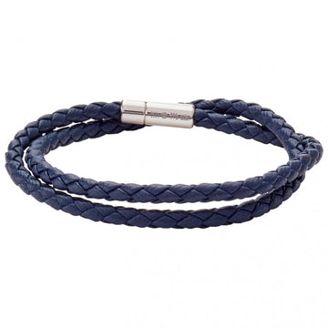 Tateossian POP Scoubidou Double Wrap Men's Braided Bracelet, Navy Blue