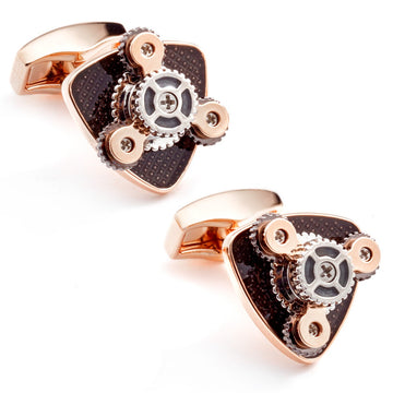 Tateossian Mechanical Gear Trio Rose Gold Cufflinks