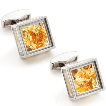 Tateossian Pandoras Box 22K Gold Leaf Cufflinks