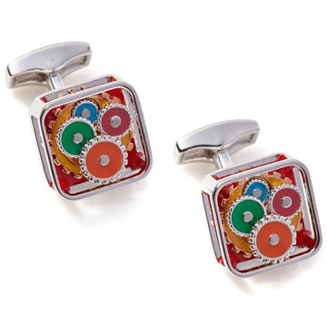 Tateossian Square Gear Colorful Cufflinks, Red Enamel