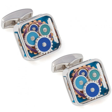 Tateossian Square Gear Custom Enamel Cufflinks, Blue