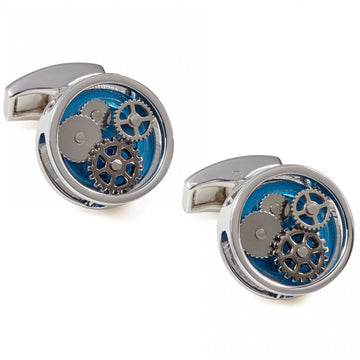 Tateossian Round Gear Stylish Men's Cufflinks with Blue Perspex