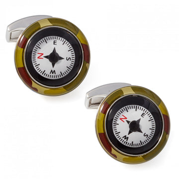 Tateossian Compass Cufflinks, Camouflage Design