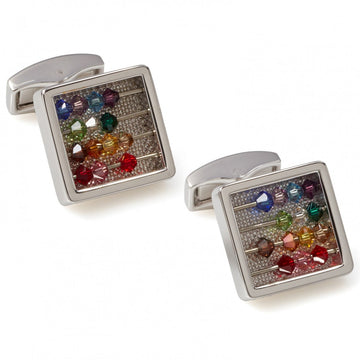 Tateossian Abacus Cufflinks, Multicolor Swarovski Element Beads