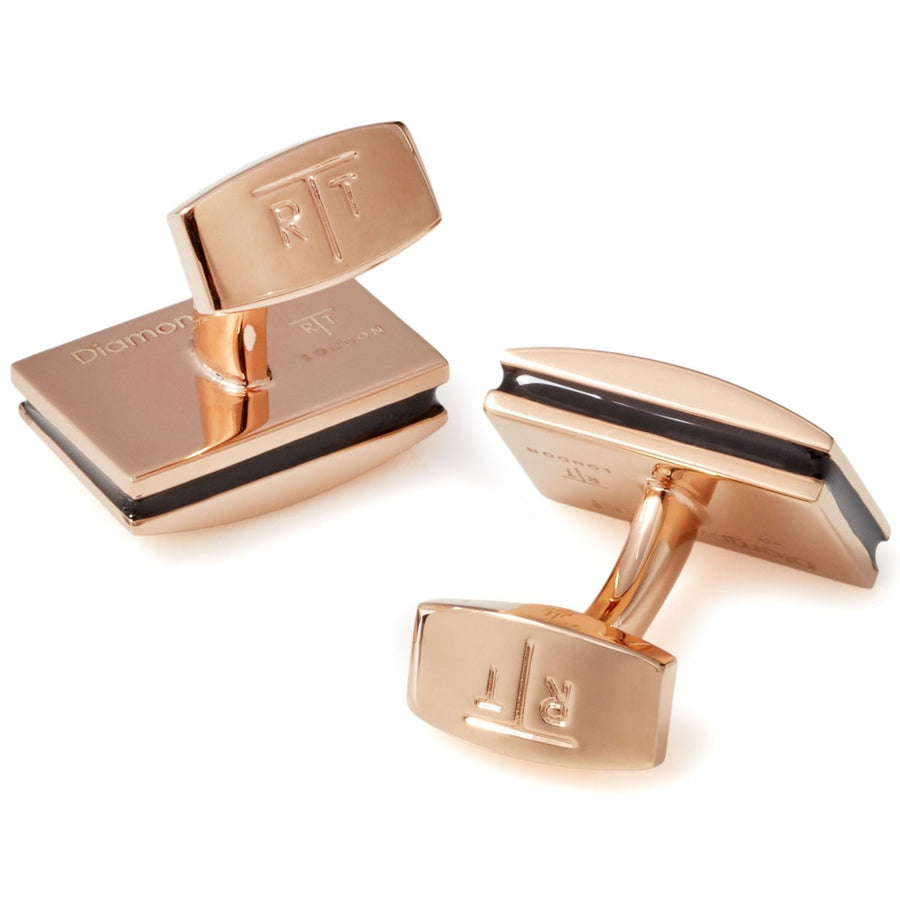 Tateossian Signature Rose Gold and Diamond Cufflinks