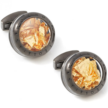 Tateossian Panorama Man's Gold Cufflinks, Precious Gold Leaf