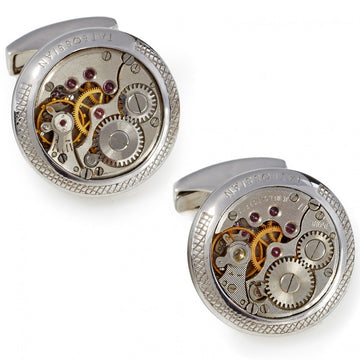 Tateossian Silver Vintage Skeleton Jewel Cufflinks with Opaque Enamel Edgeing