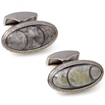Tateossian Signature Fossil Orthoceras Sterling Silver Oval Cufflinks, Limited Edition