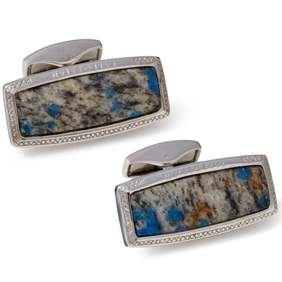 Tateossian Stones of the World K-2 Granite Azurite Marble Cufflinks, Limited Edition