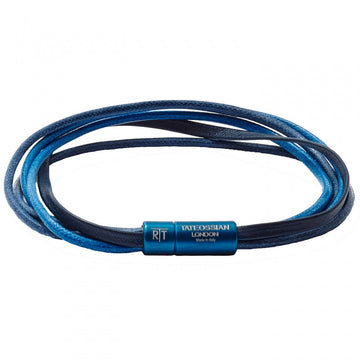 Tateossian RT Leather and Wax Rope Bracelet, Blue