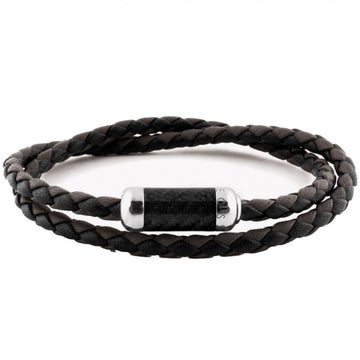 Tateossian Leather Wrap Bracelet, Black and Brown Leather with Silver Black Alutex Clasp