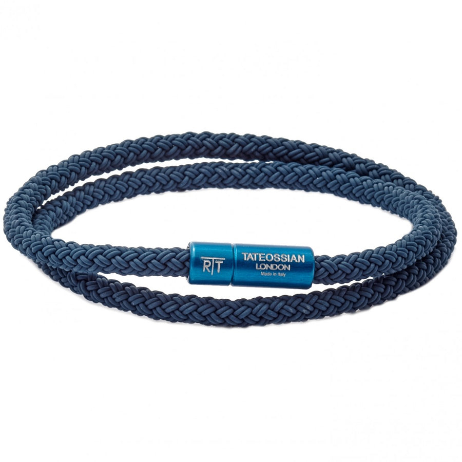 Tateossian RT Braided Blue Rubber Wire Wrap Bracelet, Anodized Aluminum Clasp