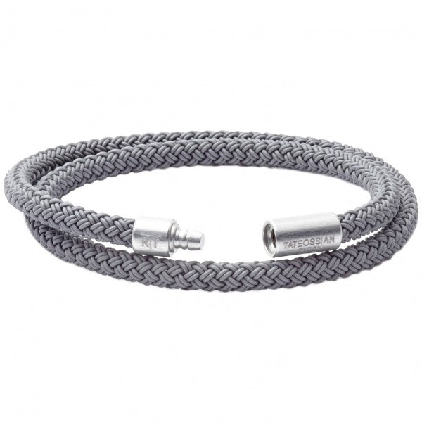 Tateossian RT Silver Braided Bracelet, Rubber Cable, Anodized Aluminum Clasp, Double Wrap