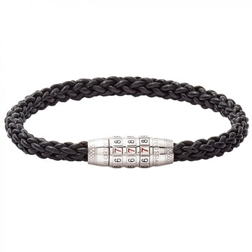 Tateossian Sterling Silver and Black Leather Good Luck Bracelet with 777 Combination Lock