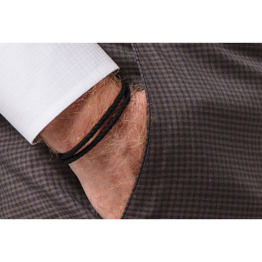 Tateossian POP Rigato Double Wrap Braided Black Leather Men's Bracelet, Sterling Silver Clasp