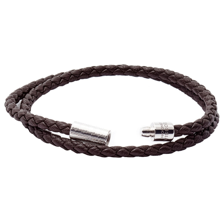 Tateossian POP Rigato Double Woven Leather Bracelet, Sterling Silver Cylindrical Pop Tube Clasp, Dark Brown