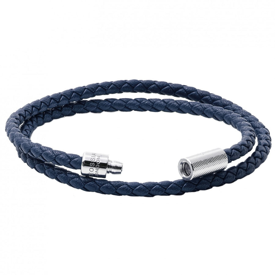 Tateossian POP Rigato Braided Leather Wrap Bracelet with Sterling Silver Cylindrical Pop Tube Clasp, Navy