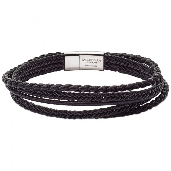 Tateossian Cobra Black Leather Bracelet with Silver Clasp