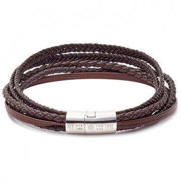 Tateossian Cobra 5 Strand Braid Bracelet with Rhodium Plated Sterling Silver Clasp, Brown