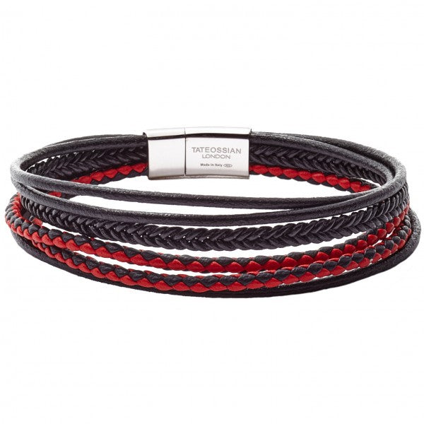 Tateossian Cobra Black and Red Bracelet with D shaped Rhodium Plated Sterling Silver Clasp, Italian Leather