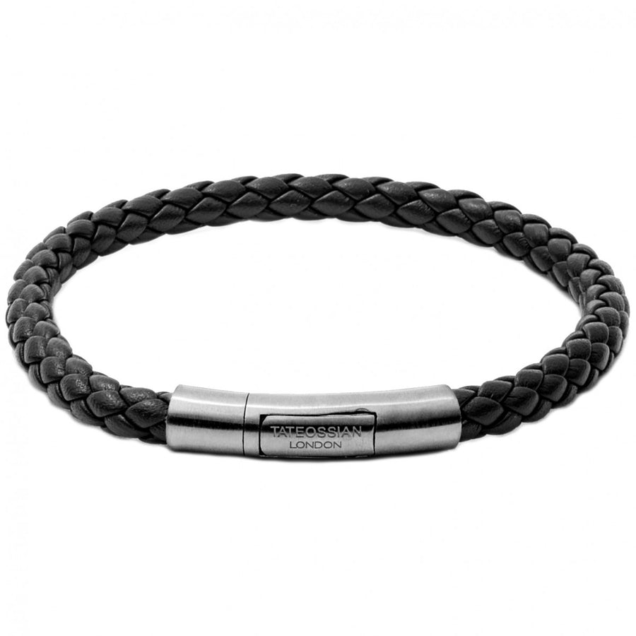 Tateossian Tubo Charles Taito Men's Leather and Silver Bracelet