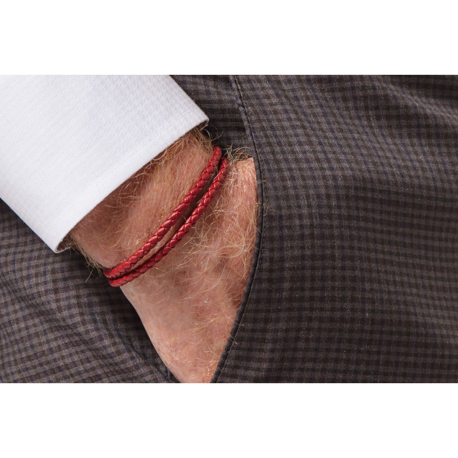 Tateossian POP Rigato Double Wrap Red Leather Cord Bracelet, Silver Cylindrical Pop Tube Clasp