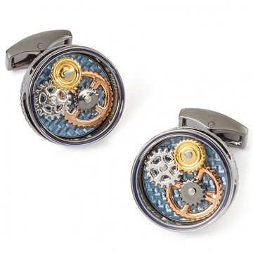 Tateossian Mechanical Gear Cufflinks, Gunmetal