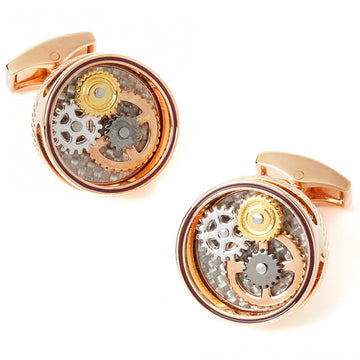 Tateossian Mechanical Gear Cufflinks Carbon Rose Gold