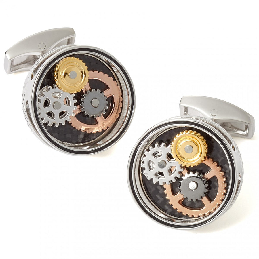 Tateossian Mechanical Gear Carbon Cufflinks, Rhodium Silver