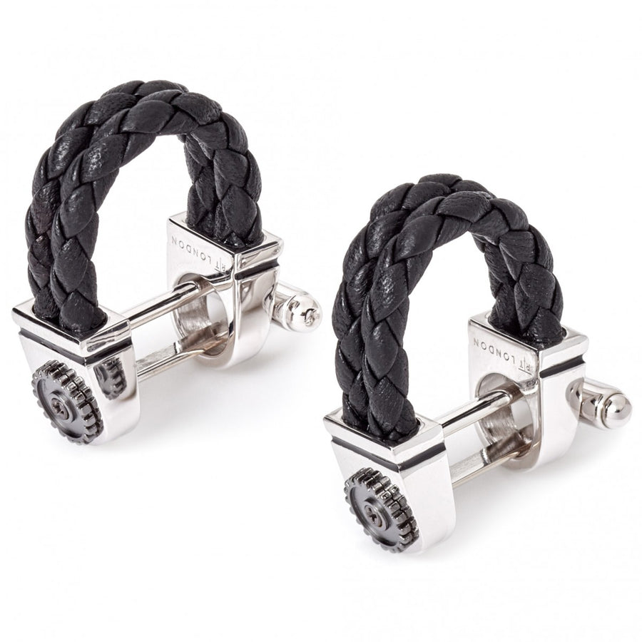 Tateossian Mechanical Gear Wrap Around Cufflinks,  Black Braided Italian Leather and Rhodium Silver