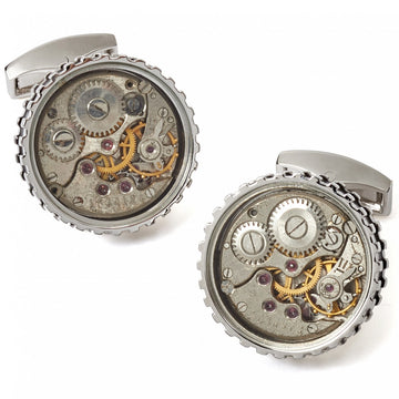 Tateossian Men's Black Cufflinks with Mechanical Skeleton Gear